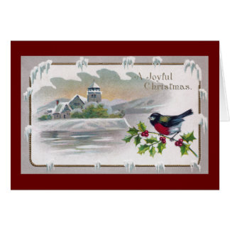 Bullfinch on Holly Vintage Christmas Card