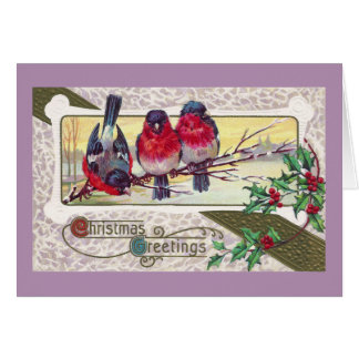 Bullfinches and Holly Vintage Christmas Card