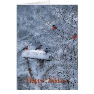 Bullfinches Happy Holiday Card