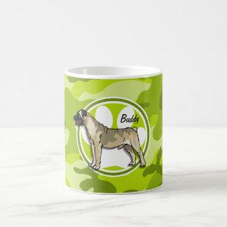 Bullmastiff bright green camo camouflage coffee mugs
