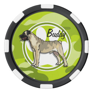 Bullmastiff; bright green camo, camouflage poker chips