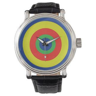Bull's Eye Vintage Custom Black Leather Watch. Wristwatches
