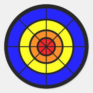 bullseye red orange yellow and blue round sticker