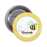 Bumble Bee Customised name tag Button Yellow