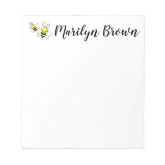 Bumble Bee Personalised Script Name Notepad