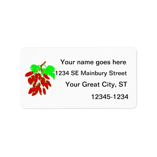 Bunch of red peppers address label