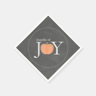 Bundle Of Joy Chalkboard Pumpkin Fall Baby Shower Disposable Serviettes