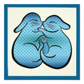 Bunnies Easter Postcard – Monochromatic Blue Dots