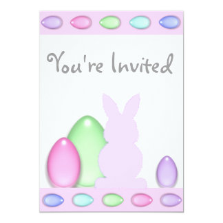 Bunny and Eggs Easter Birthday Invitation ~ Girls