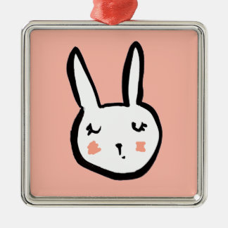 Bunny Face Pink Christmas Ornament