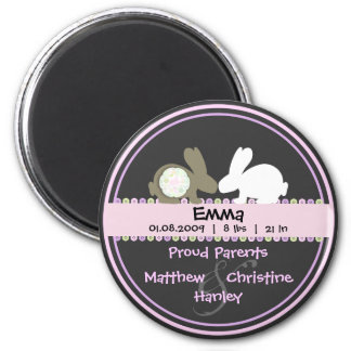 Bunny Love Birth Announcement Round Magnet