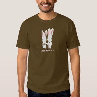 Bunny Rabbits Bride and Groom with Custom Text Tee Shirts
