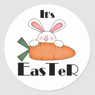 Bunny With Carrot Easter Tshirts and Gifts Round Sticker