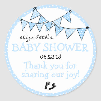 Bunting Blue Polka Dots Baby Shower Thank You Round Sticker