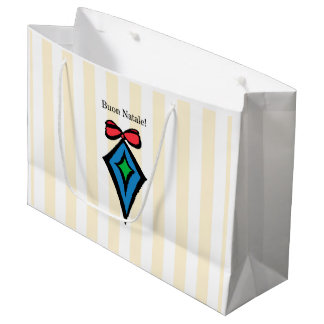 Buon Natale Diamond Ornament Large Shopping Bag