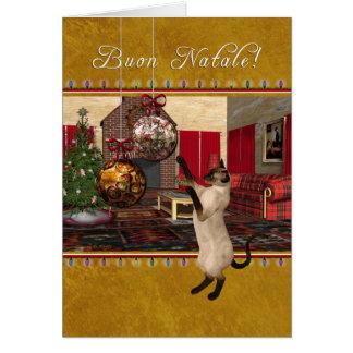 Buon Natale - Italian - Siamese Cat Christmas Card