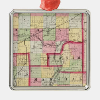 Bureau, Putnam, Stark, Marshall counties Silver-Colored Square Decoration