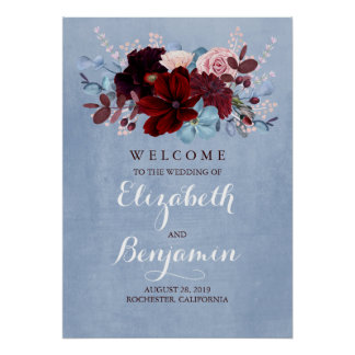 Burgundy and Dusty Blue Wedding Welcome Sign
