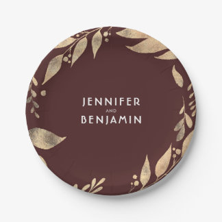 Burgundy and Gold Fall Leaves Chic Wedding 7 Inch Paper Plate