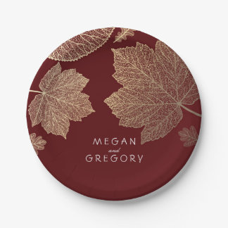 Burgundy and Gold Fall Leaves Wedding 7 Inch Paper Plate