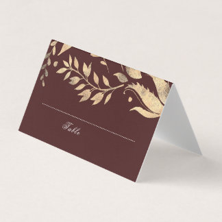 Burgundy and Gold Fall Wedding Place Card