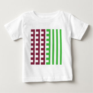 Burgundy and Green Combs Tooth Baby T-Shirt