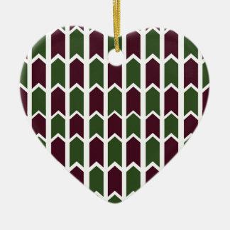 Burgundy and Green Panel Fence Christmas Ornament
