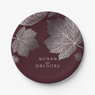 Burgundy and Silver Fall Leaves Wedding 7 Inch Paper Plate