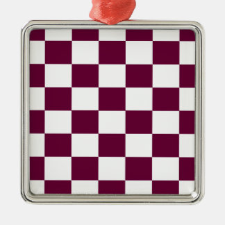 Burgundy and White Checkerboards Christmas Ornament
