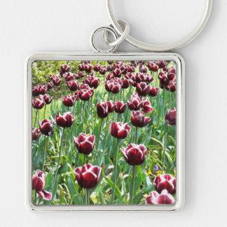 Burgundy and White Tulips Key Ring
