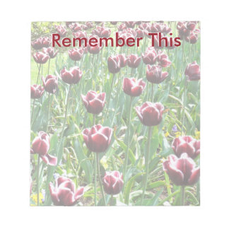 Burgundy and White Tulips Notepad