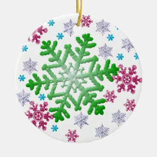 Burgundy Blue Green & Silver Snowflakes Christmas Ornament
