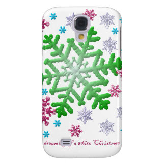 Burgundy Blue Green & Silver Snowflakes Galaxy S4 Case