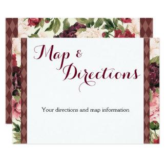 Burgundy Bouquet Wedding Information Card