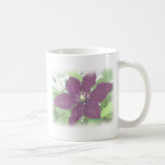 Burgundy Clematis Watercolor Effect Photo Mug