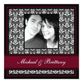 Burgundy Damask Wedding Engagement Announcement