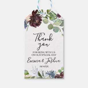 Burgundy Floral and Greenery Thank You Gift Tags