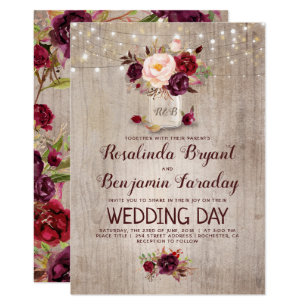 Rustic wedding invitations zazzle burgundy floral mason jar rustic wedding invitation stopboris Choice Image