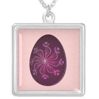 """Burgundy Floral Pinwheel"" - Decorative Egg Square Pendant Necklace"