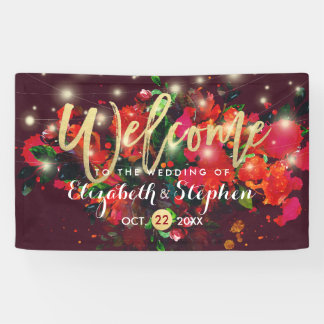 Burgundy Floral String Lights Gold Script Weddings Banner