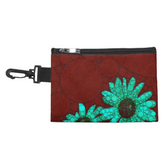 Burgundy Florescent Turquoise Flowers Accessories Bag