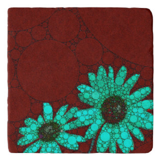 Burgundy Florescent Turquoise Flowers Trivet