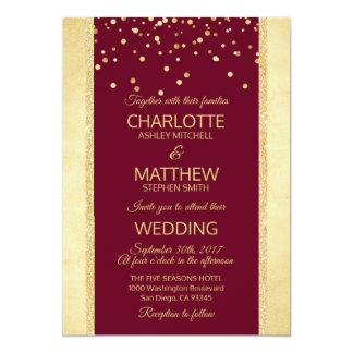 Burgundy Gold Foil Glitter Wedding Invitation
