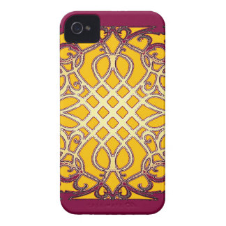 Burgundy-Gold French Abarbesque Pattern by Sharles iPhone 4 Case-Mate Case