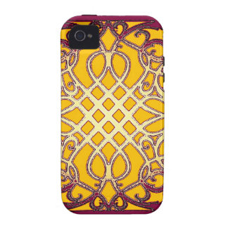 Burgundy-Gold French Abarbesque Pattern by Sharles iPhone 4/4S Covers