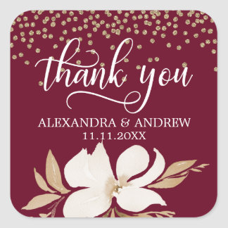 Burgundy Gold Watercolor Floral Wedding Thank You Square Sticker
