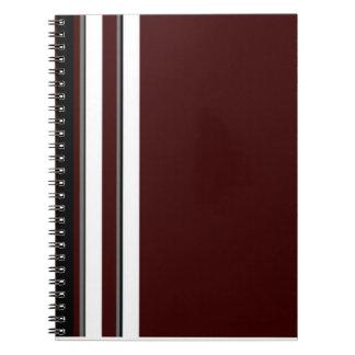 Burgundy/Gray & White Stripes Notebook