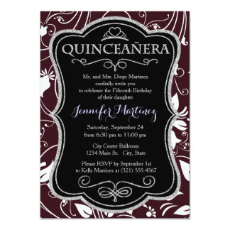 Burgundy Maroon, White Floral Swirls; Flowers Personalized Invite