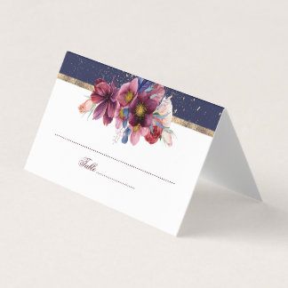 Burgundy Navy and Gold Floral Wedding Place Card
