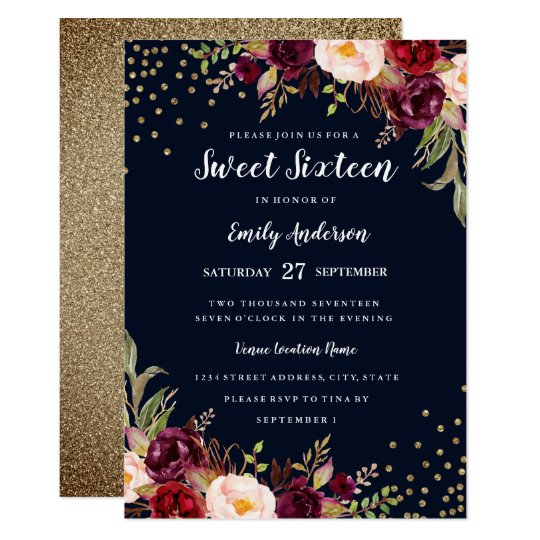 Burgundy Navy Floral Sparkle Sweet Sixteen Invite